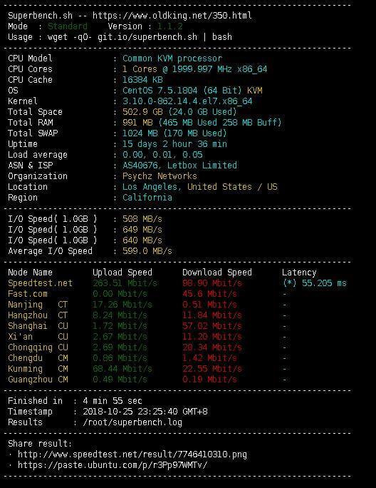 VPS\服务器测试脚本:Superbench.sh